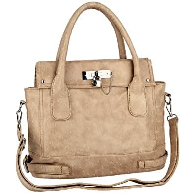 MG Collection CHIONE Beige Ostrich Embossed Padlock Soft Office Tote Handbag