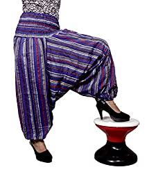 Cotton Aladdin Striped Genie Harem Beggy Pants Gypsy Trousers Free Size (Dark Blue)