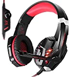 KOTION EACH G9000 3.5mm LED Light Headband Gaming Headset/Game Headphone with Microphone for PlayStation 4 PS4Tablet PC iPhone 6/6s/6 plus Mobilephones (Color: Red)