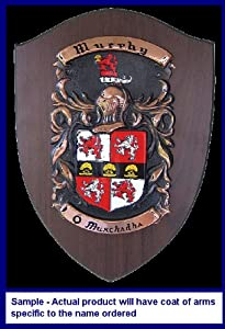 Lauzon Family Coats of Arms Hand Painted on Copper Mounted on Wood Plaque