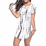 Striped Printed Women Short Sleeve Arc-Shaped Hem Sexy Clubwear T-Shirts Dress