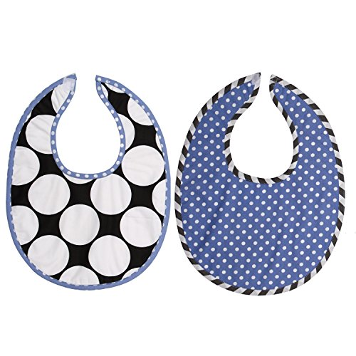 Bacati 2 Piece Dots/Pin Stripes with Blue Pin Dots Bibs Set, Black/White - 1