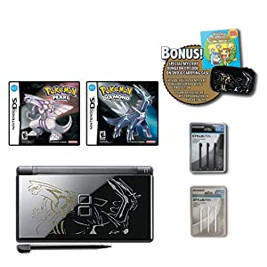 ds lite system pokemon limited edition black onyx with pearl pokemon logos. Black Bedroom Furniture Sets. Home Design Ideas