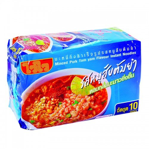 Wai Wai Instant Noodles Minced Pork Tom Yum Flavor 60g. Pack 10 (Spice Boiler compare prices)