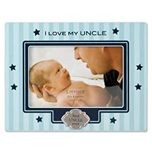 Lawrence Frames Blue Pinstripe 4 by 6-Inch Picture Frame, I Love My Uncle Design