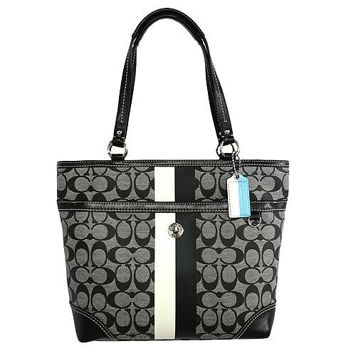 Coach Heritage Stripe Signature Bag Purse Tote 14477 Black White ...