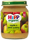 HiPP Organic Stage 1 From 4 Months Apple and Pear Pudding 6 x 125 g (Pack of 2, Total 12 Pots)