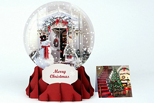 Christmas Greeting Card Pop-up 3-d Snow Globe Holiday Holiday Door