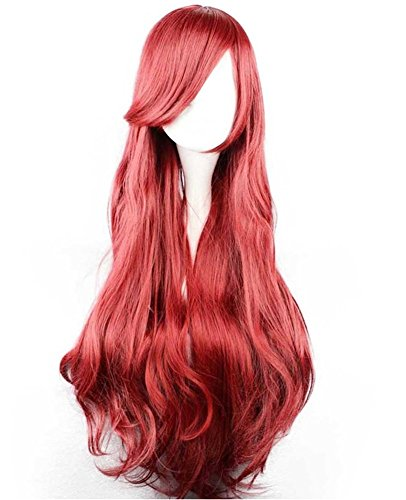 [Adult Women's Deluxe Halloween 1:1 Princess Ariel Wig Cosplay Red (One Average Size)] (Little Mermaid Wig For Adults)