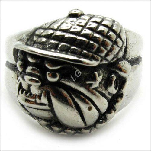 Size : 9 Us Pekingese Dog Hat Biker Hollow Cocktail Fashion Charm Vintage Jewelry Rings for Women - Men Skrig0343