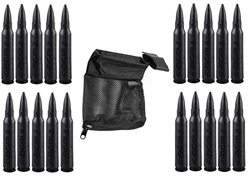 Magpul 215 Black 5.56 Pack Of 15 Dummy Ammo + Ultimate Arms Gear Tactical Deluxe Mesh Ar15 Ar-15 .223 5.56 Rifle Brass Shell Bullet Catcher Bag
