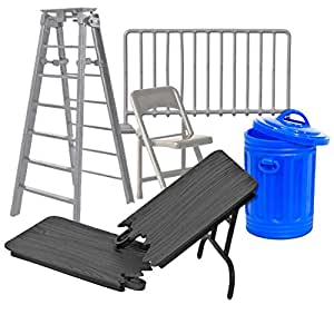 Wrestling Action Figure Accessories: (Set of 5 Wrestling Props)