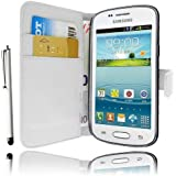 Etui Housse Luxe Blanc Portefeuille pour Samsung Galaxy Trend lite S7390 + STYLET et 3 FILM OFFERT !