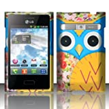 LG Optimus Logic L35g / Dynamic L38c Case Owl Blue/Yellow Patchwork Design Cover (Straight Talk/Net 10) + Free TRENDE Gift Box