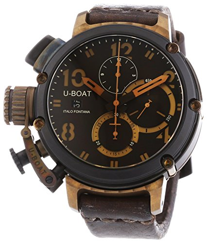 U Boat Chimera Black and Bronze Men's Automatic Watch with Brown Dial Chronograph Display and Brown Leather Strap 6946
