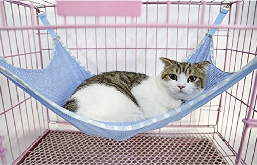 Wellbro® Pets Hammock Mat Cat Hanging Bed, with Breathable Mesh, for Kittens Puppy Small Dogs and Rabbits, Large, Blue
