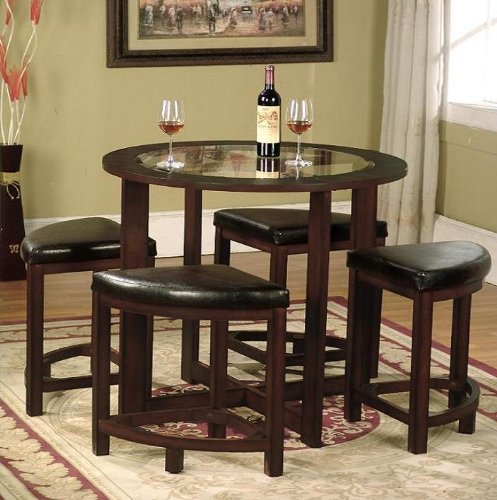 Kitchen Table And Chairs Amazon: Roundhill Furniture Cylina Solid Wood Glass Top Round