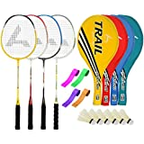 Guru TrailBR06 Series-COMBO-2 Badminton Racquets Set Pack Of Four With Four Cover Six Shuttlecock & Four Hand...