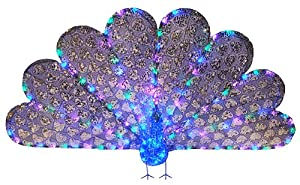 """33"""" x 60"""" Majestic Regal Peacock Lighted LED Christmas Yard Art Decoration"""