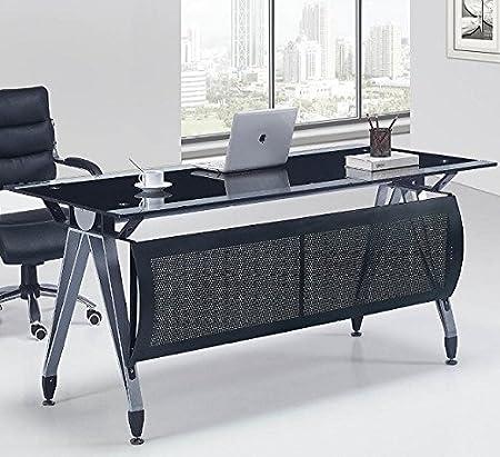 Mesa de oficina cristal negro y transparente 160x80 cm
