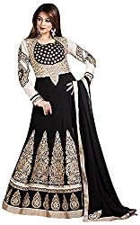 Shri Balaji Emporium Women's Georgette Unstitched Suit (_45, Black)