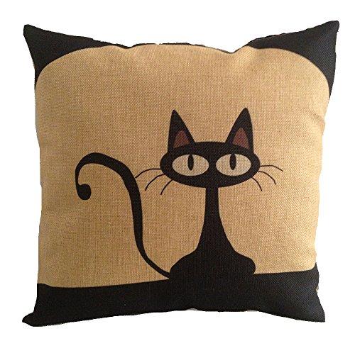 Acala 18 X 18 Inch Cotton Linen Decorative Throw Pillow Cover Cushion Case, Cartoon Black Cat (E)