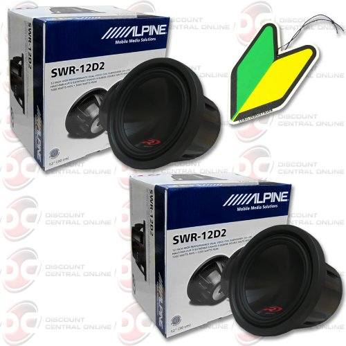 "2 X Alpine 12"" 12-Inch Dual 2-Ohm Type-R Car Audio Sub Woofers (Pair) With Free Squash Air Fresheners"
