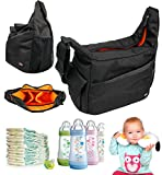 DURAGADGET Chic Stylish Classic 'Yummy Mummy' Baby Nappy Changing Bag - Black / Orange