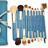Valentine day gifts MSQ Professional Makeup Brushes comestic makeup set/kit Wooden Handle 17pcs Pro Makeup Cosmetic soft and smooth Brush set/kit blusher Tools Silver blue color