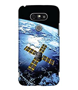 PrintHaat Designer Back Case Cover for LG G5 :: LG G5 Dual H860N :: LG G5 Speed H858 H850 VS987 H820 LS992 H830 US992 (satellite near the earth :: satellite in space :: geographical scene :: earth from sky :: in blue, yellow and black)