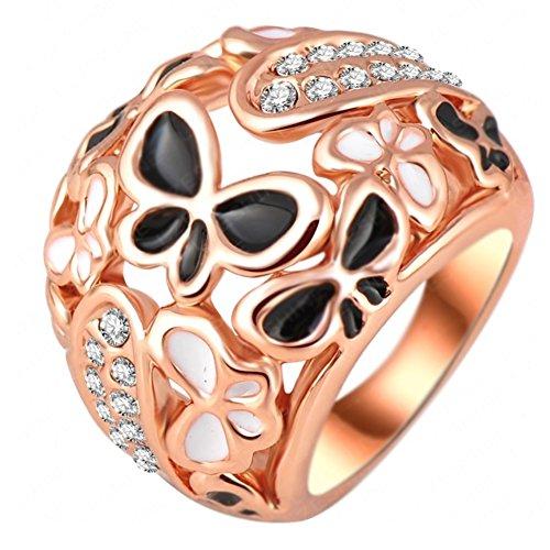 "RI06019C1-8 ""Night Butterfly"" Austrian Crystal 18K Ring"