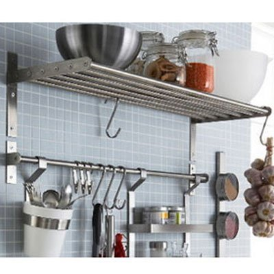 Ikea Grundtal Kitchen Shelf Rail and Hooks Set Stainless Steel (Stainless Steel, 1)