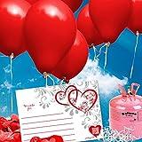 Rote HELIUM Herzluftballons und Luftballons Hochzeit - KOMPLETTES SET aus roten Herzluftballons und roten Heliumballons + Helium Einwegflasche, Ballonkarten und Ballonschnur für das Hochzeitsspiel Luftballons steigen lassen - beliebteste Hochzeitsspiele und Hochzeitspräuche - Partyspiele