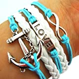 Christmas Gifts EyourlifeAnchor Rudder Nautical Love Bracelet Skyblue Rope White Leather thumbnail
