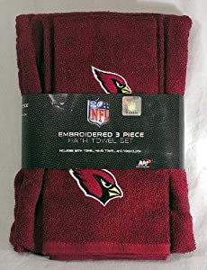 Arizona Cardinals 3 Piece Embroidered Bath Towel Gift Set by Northwest