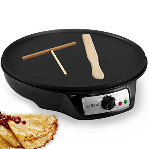 Buy Bargain NutriChef  Electric Crepe Maker Griddle, 12 inch Nonstick Use also For Pancakes Blintzes Eggs & More Black (PCRM12)