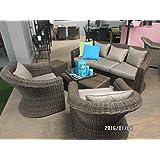 Lounge Set Gartenmöbel Coco Marron Polyrattan 5-teilig braun hochwertig