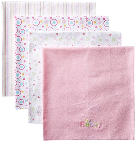 Spasilk Baby-Girls Newborn 4 Pack 100% Cotton Flannel Receiving Blanket, Pink Baby/Circle