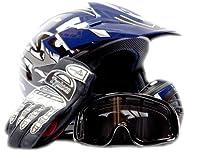 Youth Offroad Gear Combo Helmet Gloves Goggles DOT Motocross ATV Dirt Bike MX Motorcycle Blue Black, Large by Typhoon Helmets