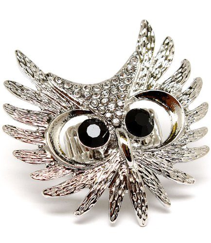 Gorgeous XX-Large Ice Crystal Covered Owl Head Ring on Adjustable Stretch Band Silver Tone