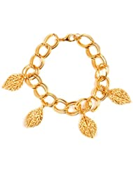 Chooz Designer Studio Jacqueline Fernandes/Deepika Padukone Charm Gold Plated Leaf Bangle Bracelet Wrist Band...