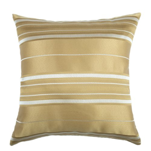 "Euphoria Home Decorative Cushion Cover Throw Pillow Case Shell Vintage Big Stripes Gold Color 18"" X 18"" front-394084"