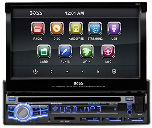 BOSS AUDIO BV9976B Single-DIN 7 inch Motorized Touchscreen DVD Player Receiver, Bluetooth, Wireless Remote (Chevy Camaro Bluetooth compare prices)
