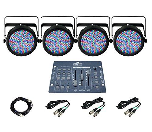 New! 4 Chauvet Slimpar 64 Led Pro Dj Rgb Lights + Obey 3 Controller + Dmx Cables