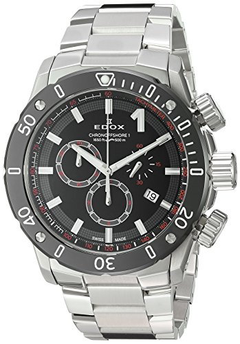Edox-Mens-Chronoffshore-1-Swiss-Quartz-Stainless-Steel-Diving-Watch-ColorSilver-Toned-Model-10221-3M-NIN