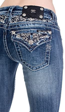 Miss Me relaxed fit dark crystal bootcut jeans (29)