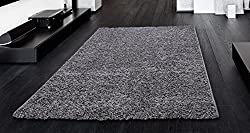 Ottomanson Soft Cozy Color Solid Shag Rug Contemporary Living and Bedroom Soft Shaggy Area Rug Kids Rugs, 5' x 7', Grey