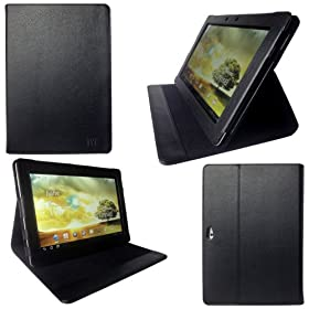 YooMee Asus Eee Pad Transformer PRIME TF201 Black Leather Case Cover Folio with Multi-Angle Stand