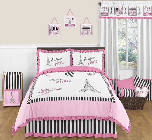 Pink, Black And White Stripe Paris 3 Piece Childrens And Teen Full / Queen French Eiffel Tower Bedding Set Collection