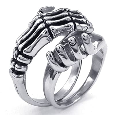316L Stainless Steel Silver Tone Skeleton Hand Skull Claw Grip Couple Rings -- Aooaz Jewelry by Aooaz